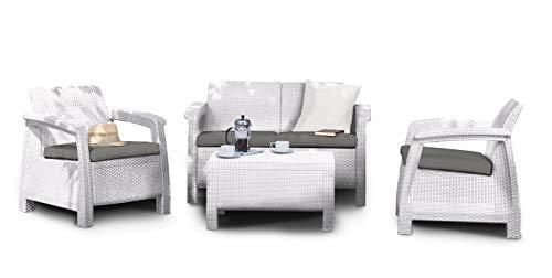Keter Corfu Lounge Set Mobili da Esterno in Rattan con Divano 2 Posti 2 Poltrone e Tavolino, Bianco, 50X168X75 Cm