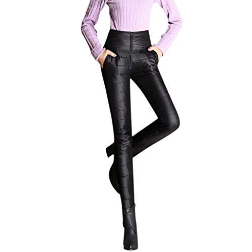 MMOOVV Plus Size Thermohose Damen Winter Winterhose Samt Verdicken Warme Hosen Tasche Jeggings Bleistifthosen Doppelseitige Daunenhose (Schwarz XL)