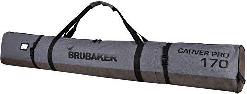 Brubaker Carver Performance Skisack für 1 Paar Ski und Stöcke - Grau meliert Schwarz - 170 cm
