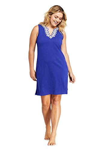 Lands' End Womens Cotton Jersey Sleeveless Tunic Dress Cover-up Embelished Galaxy Blue/White Regular Small