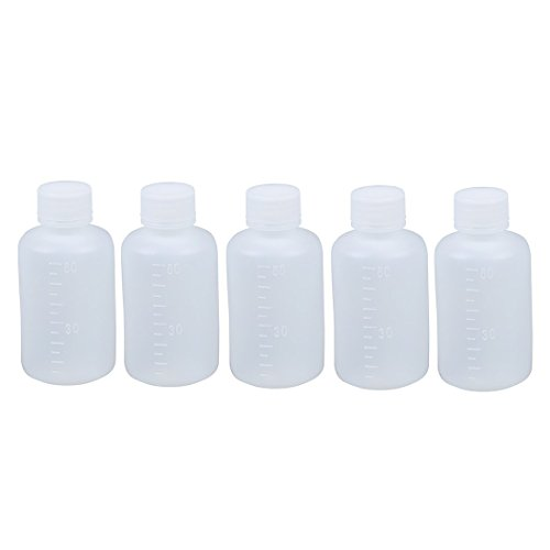 SODIAL (R) 60 ml Clear Plastic Zylinder geformt Chemical Reagenzienflasche 5 Stueck