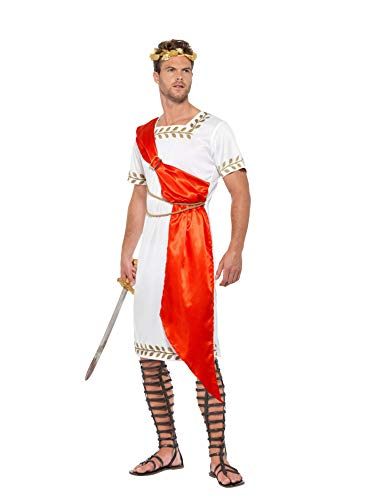 Smiffys Senator Costume Disfraz de senador Romano, Color Blanco y Rojo, XL-Size 46