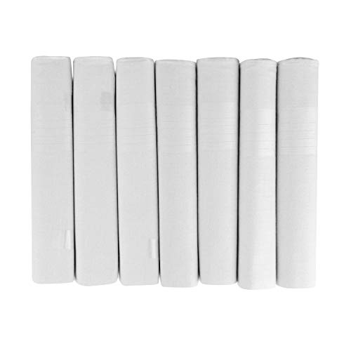 Handkerchiefs Boîte de 7 mouchoirs en satin 100 % coton pour homme Blanc