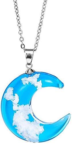 Collar de nube blanca de cielo azul, colgante de luna de resina transparente, joyería creativa hecha a mano para mujeres y niñas con cadena ajustable