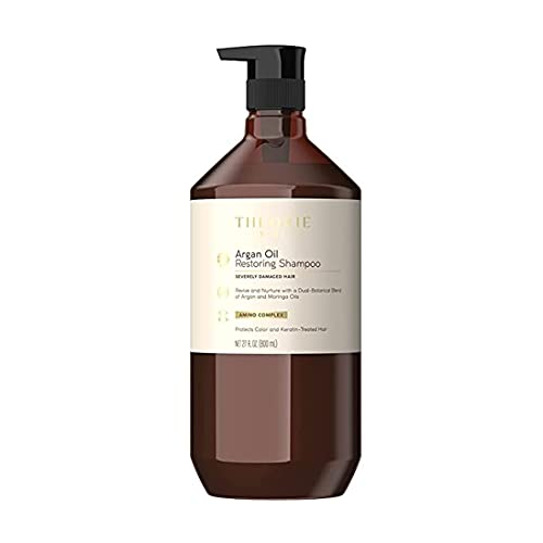 THEORIE Argan Oil Restoring Shampoo- Rejuvenate & Moisturize - For All Hair Types - Sulfate Free - Safe for Color & Keratin Treated Hair, 800mL - Label Design May Vary