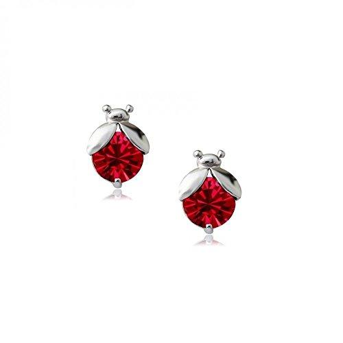 Boucles d'oreilles Coccinelles 18 carats plaqué or blanc avec cristaux autrichiens rouges en zircone