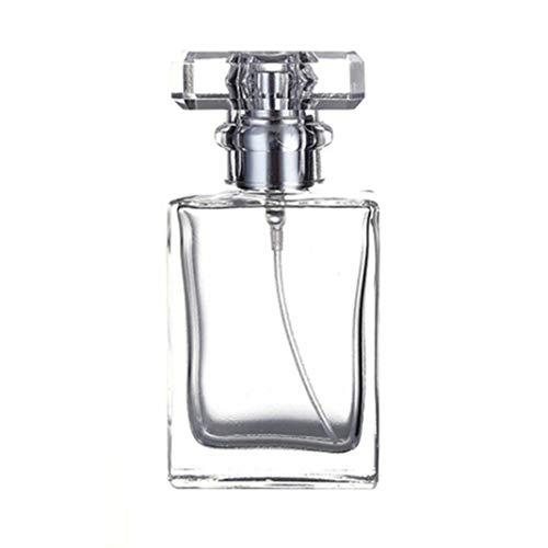 Ruby569y Bouteilles de voyage en silicone pour liquides, récipients vides pour bouteilles de liquide, 30 à 50 ml Portable Voyage Carré Recharge Vide Parfum Flacon Vaporisateur Transparent 50 ml