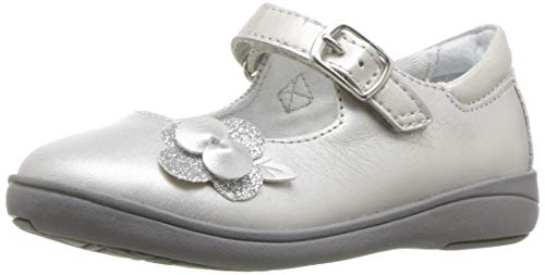 Stride Rite Girls' SR AVA Mary Jane Flat, Silver, 4 W US Toddler