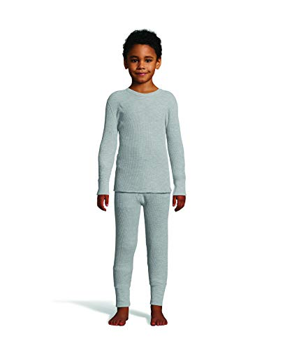 Hanes Boy's Waffle Knit Thermal Set with FreshIQ, X-Temp Technology & Organic Cotton Heather Gray