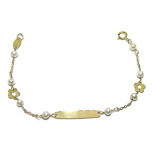 Never Say Never Pulsera para bebé de Oro Amarillo de 18k con 2 Flores y Placa para Grabar (el Grabado es Gratis y tardamos Solo 1 día!) 8 Perlas cultivadas de 3mm.12.5cm de Larga.
