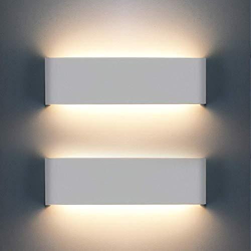 2 Pcs Lámpara De Pared Interior 12W, 1200lm Moderna Apliques De Pared 3000K Blanco Cálido Para La Sala De Estar Dormitorio Baño Cocina Comedor