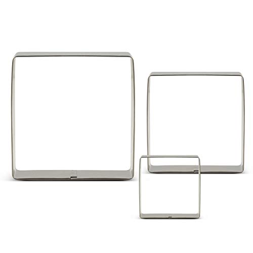 LILIAO Square Cookie Cutters - 3 Various Size - Large: 3.6 inches, Medium: 3 inches and Small: 2.6 inches - Stainless Steel