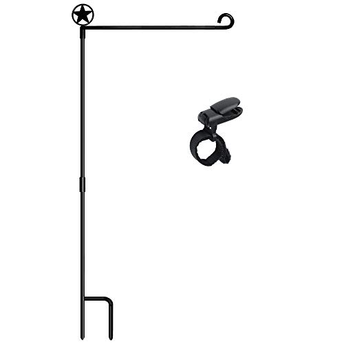 HOOSUN Garden Flag Stands, Garden Flag Holders Poles Pentagram Made of Premium Metal with 1 Tiger Clip and Without Flag