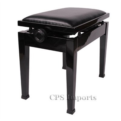 Great Price! Adjustable Piano Bench Stool with Quick Adjustment in Ebony