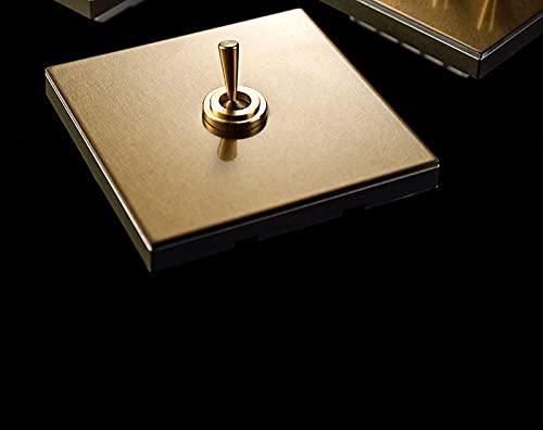 86 Tipo Interruptor de palanca de la luz de pared oculta 1-4 GAND 2 WAY VANido Vintage Palanca de latón Acero inoxidable Champagne Gold Switch Panel (Color : 1 Gang 2 Way Switch)