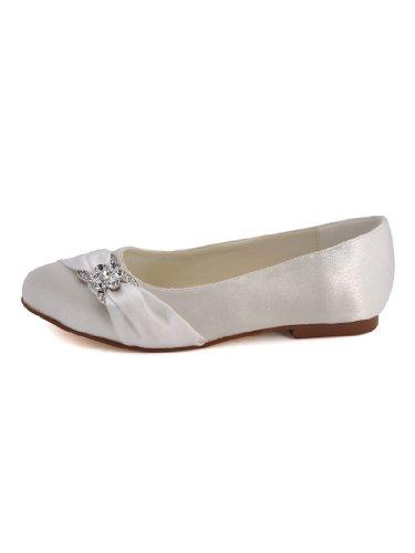 Bequeme flache Brautschuhe Ballerinas | Ivory - 6