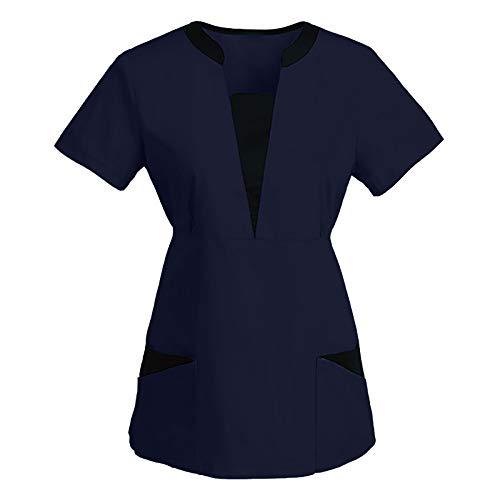 PJQQ Medizinisches Pflegehemd FüR Frauen Mit V-Ausschnitt Bequemes, Weiches, Atmungsaktives Pflege-Arbeitskleid Mode Kurzarm Frosted Nursing Pocket Top