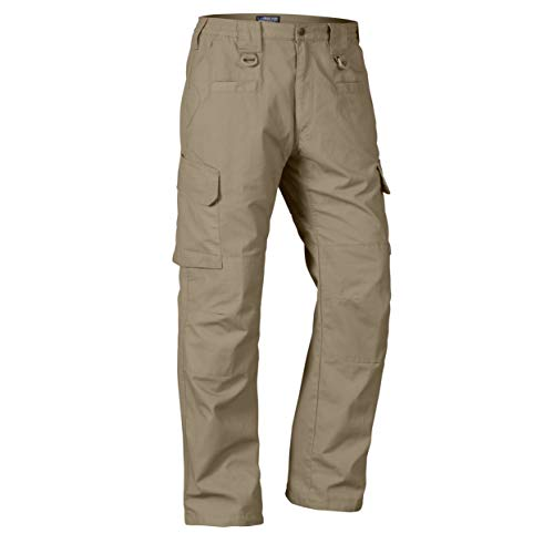 LA Police Gear Men's Water Resistant Operator Tactical Pant with Elastic Waistband - Khaki - 38 x 32
