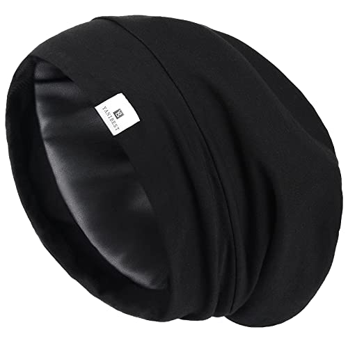 YANIBEST Silk Satin Bonnet Hair Cover Sleep Cap - Pure Black Adjustable Stay on Silk Lined Slouchy Beanie Hat for Night Sleeping