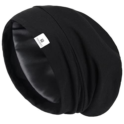 YANIBEST Silk Satin Bonnet Hair Cover Sleep Cap - Adjustable Stay on Silk Lined Slouchy Beanie Hat for Night Sleeping