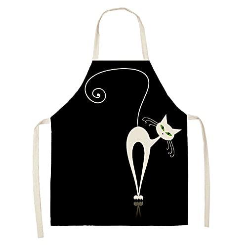 Negro Lindo gato impreso cocina cocinar para hornear delantales 53 * 65cm Lino sin mangas de algodón para mujeres delantal de la casa (Color : 2WQ 46308 032)