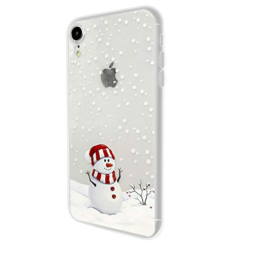 "Silicone Case for iPhone XR Christmas, Slim Fit iPhone XR Case Ultra Thin Clear Design Transparent Flexible Cover Xmas Winter Snowman Snowflake Pattern Soft TPU Rubber Protective Case (6.1"")"