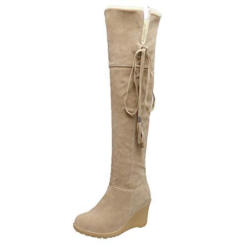 MISSUIT Damen Langschaft Overknee Stiefel Keilabsatz High Heels Stiefel mit Fell und Schnürung Warme Gefüttert Winterboots(Beige,40)