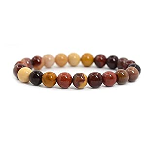 Natural Mookaite Jasper Gemstone Bracelet 7 inch Stretchy Chakra Gems Stones Healing Crystal Great Gifts (Unisex) GB8-4