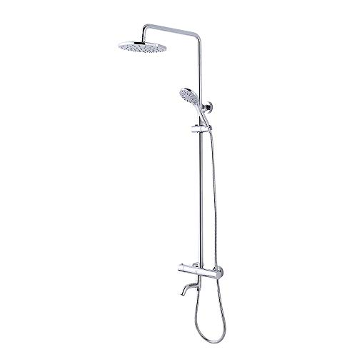CRW Thermostatic Rain Shower System Mixer Faucet Sets Triple Function Chrome with Adjustable Slide Bar Shower Head G10CU1