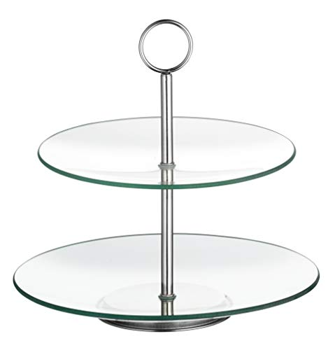 Esmeyer Etagere, Glas, transparent/Silber, 27 x 27 x 7 cm