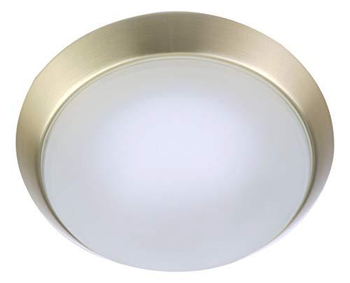 Niermann Standby 64511 - Lampada da soffitto A++ to E, con anello decorativo in ottone opaco, satinato, con bordo trasparente, 25 x 25 x 8 cm