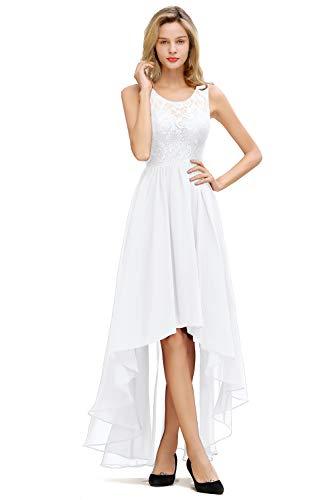 MisShow Hochzeitskleid Damen elegant Unregelmäßig Abendkleider Vorne Kurz Hinten Lang Ballkleid Chiffon Festlich Spitzenkleider Weiss 36