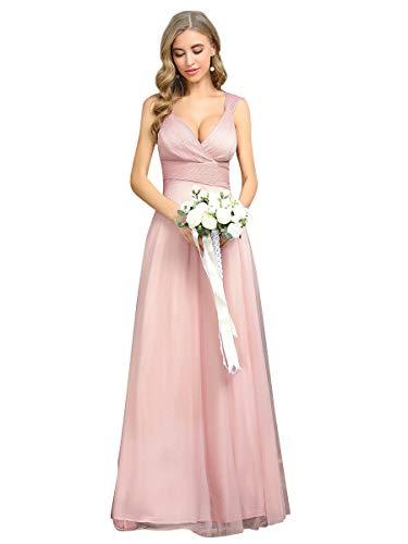 Ever-Pretty Vestito da Damigella Donna Linea ad A Scollo a V Tulle Senza Maniche Stile Impero Lungo Rosa 36