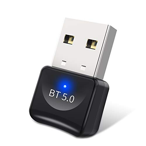 dowowdo USB Bluetooth 5.0 Adaptador Bluetooth Transmisor Receptor Bluetooth para PC con Windows 7/8/8.1/10/XP,  Plug and Play Compatible con Auricular/Altavoz/Ratón/Teclad