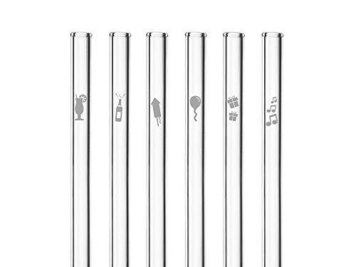 HALM Glas-Strohhalme - Birthday Party Edition - Besonderes Geschenk zum Geburtstag - 6 Stück gerade 20 cm mit Gravur - Wiederverwendbare Glas-Trinkhalme graviert - Glasstrohalme
