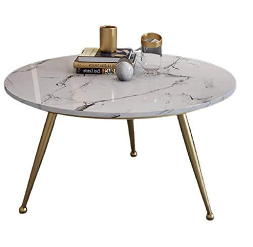 LICHUAN Mesa de centro redonda de mármol, mesas auxiliares elegantes y sencillez, mesa esquinera de té, para salón, recepción, decoración del hogar, mesa auxiliar (color: dorado, tamaño: 60 x 45 cm)