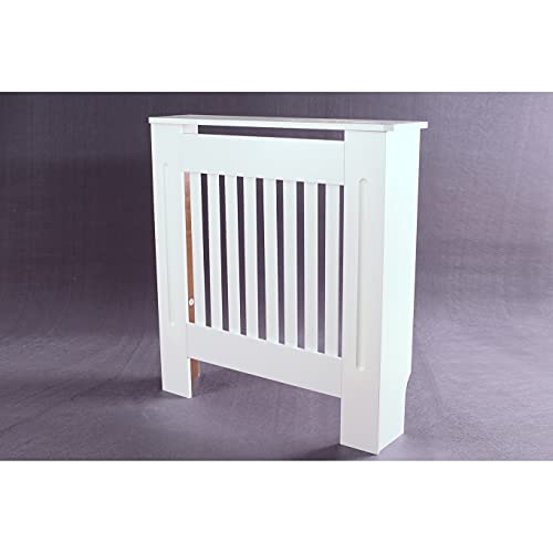 MDF White Painted Radiator Cover Wooden Cabinet Shelving Home Office Vertical Slatted Vent H 82 x W 78 x D 19 Cm, Freestanding Frame, Easy Assembly