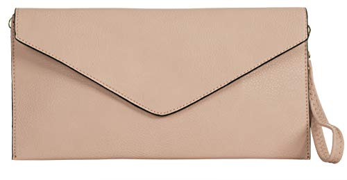 Big Handbag Shop pochette in eco pelle con tracolla lunga, Rosa