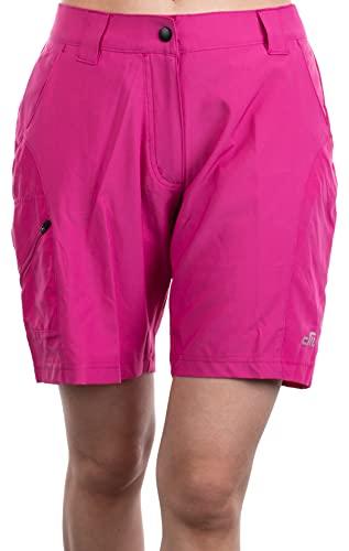 Brandsseller Damen Hose Fahrradhose Bike Shorts Mountainbikehose Radhose Wanderhose mit gepolsterten herausnehmbaren Innenslip Pink 40