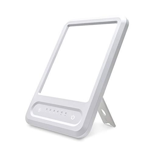 Tageslichtlampe 10000 Lux, Zuukoo Tragbar LED Sonnenlicht Lampe UV-FREE Vollspektrumlampe, Tageslichtlampe mit 6 Timer, stufenloses Dimmen, Memoryfunktion, UV-frei Vollspektrumlampe (Weiß)