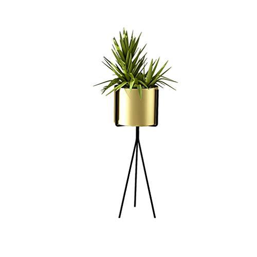 Coin Jardinière Fer Métal Plancher Pot de Fleurs Accueil Plante Cadre Balcon Décoration Plante Verte pour Rack Bureau Salon Chambre légère Shelf (S + L) Or