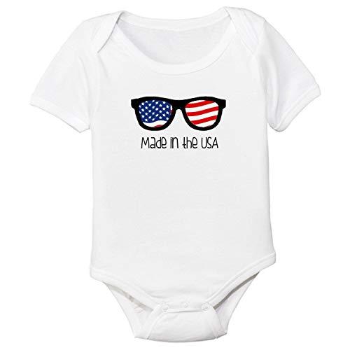 DKISEE Mono de bebé unisex hecho en los Estados Unidos bandera gafas de sol blanco divertido bebé mameluco manga corta bebé mono 12 meses