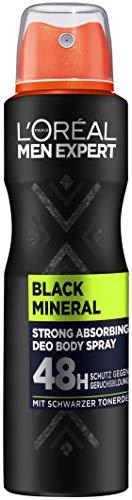 L'Oréal Men Expert Deo für Männer, Absorbierendes Deospray mit schwarzer Tonerde für bis zu 48 Stunden Frische, Black Mineral, 6 x 150 ml