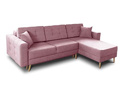 Ecksofa Porto - Sofa, Eckcouch, Couch mit Schlaffunktion und Bettkasten, L-Form, Schlafsofa mit Stoffbezug, Bettsofa, Skandinavisch Polstergarnitur (Rosa (Soro 61))