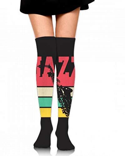 Lange sokken Saxofoon Jazz kniekousen Gepersonaliseerde sokken over dij-hoge lange kousen 60Cm
