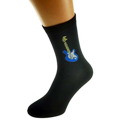 Socken, Motiv: blaue E-Gitarre, 1 Paar, hoher Baumwollgehalt,für Erwachsene, Größen 39–46, X6S200