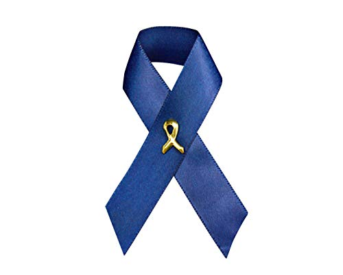 Fundraising For A Cause 50 Pack Dark Blue Awareness Ribbon - Satin Pins (50 Pins in a Bag)