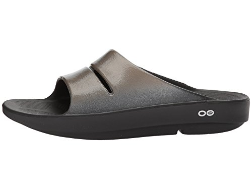 OOFOS OOahh Luxe - Women's Post Exercise Active Sport Recovery Sandals w/Foam Arch Support Reduce Stress on Sore Feet, Knees, Ankles & Joints - Black/Latte, 9 US Women