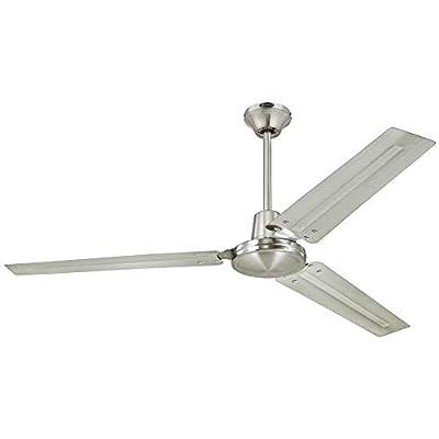 Westinghouse 7861400 Industrial 56-Inch Three-Blade Indoor Ceiling Fan, Brushed Nickel with Brushed Nickel Steel Blades (Renewed)