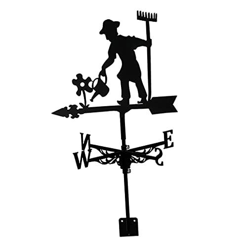 Fenteer Estatuilla de Veleta de Acero Inoxidable, indicador práctico de dirección del Viento, Adorno de artesanías de jardín al Aire Libre para Escena de - Farmer